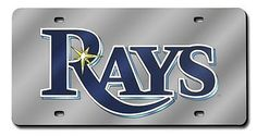 MLB Tampa Bay Rays Laser-Cut License Plates - Silver Mirror