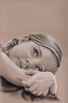 white pastel portrait colored paper