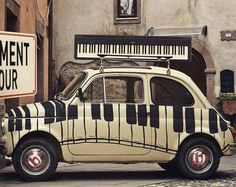 Piano keyboard car