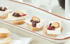 Brie and Sour Cherry Toast Bites // Whether a holiday party or your Thanksgiving feast, these little cheese appetizers are delicious!