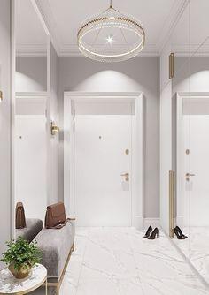 Flooring White Marble Interior Design Ideas For 2019 Home Room Design, Interior Design Living Room, Living Room Designs, House Design, Home Entrance Decor, House Entrance, Marble Interior, Flur Design, Hallway Designs