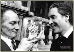 """MAY 29th 1968: Peter Cushing and Christopher Lee on the set of Dracula Has Risen from the Grave celebrate HAMMER FILMS winning """"The Queen's Award To Industry"""".  (Click image for source), viaeclectic-scriptorium."""