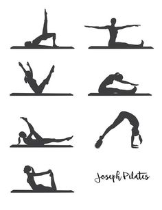 PILATES VECTORS - 7 pilates exercises + Joseph Pilates Signature THIS IS AN INSTANT DOWNLOAD. NO PHYSICAL PRODUCT WILL BE SENT. ABOUT THE FILES: Size: 2 vector files - PDF and Illustrator