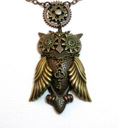 STEAMPUNK OWL Necklace  Bubo Mechanical Owl by UniqueCreations1111, $34.00