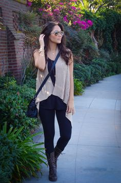 OOTD: Black, Long Layered Vest, Gold Details