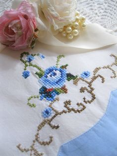 Bedding Cross Stitch Pillowcase Rose Blue and by mailordervintage