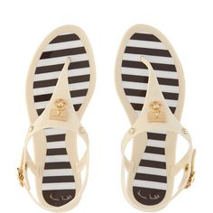 Henri Bendel Miss Bendel Jelly Sandals (€78) ❤ liked on Polyvore featuring shoes, sandals, birch, jelly sandals, adjustable strap sandals, brown sandals, striped shoes and white shoes
