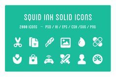 Squid Ink Solid Icon Pack by Web Icon Set on Creative Market