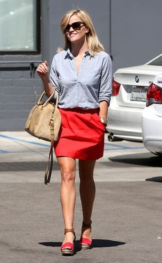 Reese Witherspoon is cute as can be in a cherry-red skirt and matching sandals. #style