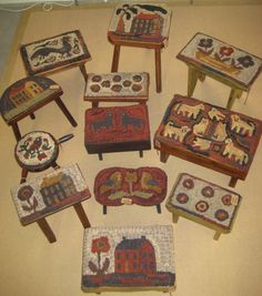 Love stools with hooked rugs on them.  From Kathy Graybill.
