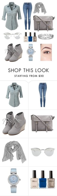 """""""Blue Hues"""" by aneesha-dean ❤ liked on Polyvore featuring LE3NO, Topshop, WithChic, Samantha Holmes, Fendi, OMEGA, Effy Jewelry, women's clothing, women and female"""