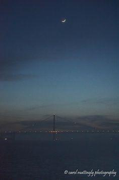 Dusk and New Moon, Golden Gate Bridge, San Francisco Bay, San Francisco, CA