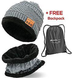 Amazon.com  Bluetooth Beanie - Bluetooth Hat - Wireless Headphones Hat and  Scarf Set 23073365f