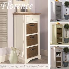 Florence tallboy with drawer and 3 storage baskets. This is the perfect item when you are short on floor space and with its mix of contemporary and traditional styles this Tallboy will look stunning in any room. | eBay!