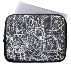"""WHITE ON BLACK"" laptop sleeve. Available in 3 sizes - 10"" 13"" 15"""