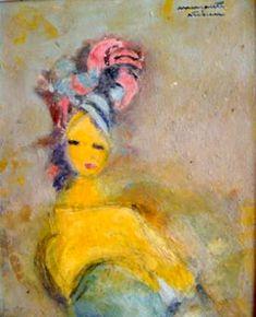 Portrait by Margareta Sterian. Famous Words, Art Database, High Art, Luxor, Portrait, Artist, Expressionism, Turban, Romania