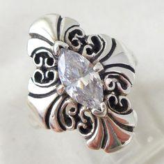 Vintage KABANA Sterling Silver Renaissance Style Diamonique Navette Ring Sz 8