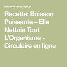 Recette: Boisson Puissante – Elle Nettoie Tout L'Organisme - Circulaire en ligne