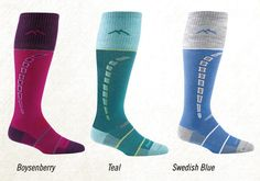 Darn Tough! They live up to their name. Colorful, thin to fit into ski books well, and Made in Vermont! My home state!