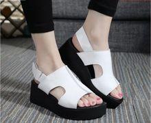Nueva mujeres sandalias 2016 superventas nuevo cuero genuino sandalias zapatos mujer cabeza de pescado sandalias planas(China (Mainland))