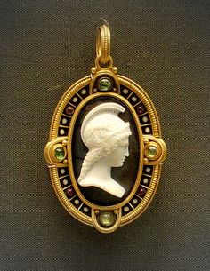 Cameo in enameled gold with emeralds and amethyst, Rome 1860-70, British Museum