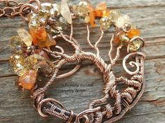 Wire Wrapped Tree of Life Bonsai Pendant, Citrine & Carnelian beads…