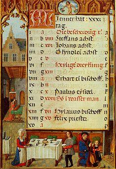 Kalenderminiatuur van de maand januari door Simon Bening in de Hortulus Animae, 1510-20. Wenen, Österreichische Nationalbibliothek, Cod. 2706, fol. 1v