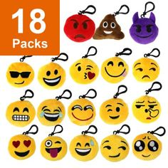 Free Shipping. Buy The Elixir Party 18 Pack Mini Emoji Plush Pillows, Mini Keychain Decorations for Party Decoration, Party Supplies Favors, No-Repeated at Walmart.com