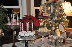 Christmas Dessert Table w/Repurposed Christmas tree ornaments