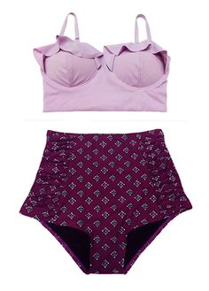 Lavender Violet Midkini Top and Burgundy Shorts Bottom Swimsuit Swimwear Bathing Suit Bikini set 2PC Beachwear Swimdress Swim dress wear S M by venderstore on Etsy