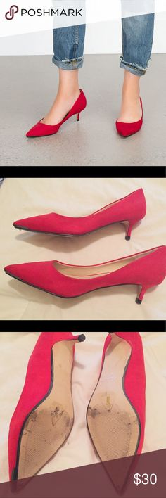 Zara red kitten heels Zara kitten 👠. Worn twice to work. Can no longer wear them because they are too tight for me. I'm a 7 1/2, but these would fit someone who's a true 7. Or true 37 in Zara sizing. They are super cute and I'm bummed that I can't wear them. No low offers please. * Also, the color red is true to the model pic (1st and last) For some reason my camera captured an off red color. Zara Shoes Heels