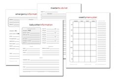 Home Management Printables = calendars, menu planners, baby sitter information, emergency information, master to-do list and more.