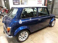 Mini Moris, Classic Mini, Garage, Blue, Metallic Paint, Motors, Leather, Wood, Carport Garage