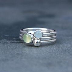 Water Lily Stacking Rings Sterling Silver Gemstone by KiraFerrer, $68.00
