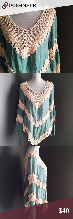 """Crochet Long Sleeve Top This aqua top is the PERFFFECT pop of color for your fall wardrobe! It would looks so fabulous with brown knee high boots and your favorite denim!!. 60% Cotton, 40% Polyester. Medium, fits a little loose. Length 22.5-30"""". Tops"""