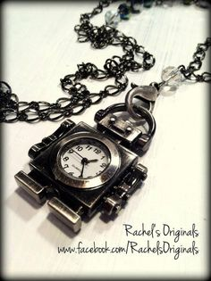 (close up to show detail)  Robot Watch Necklace   Design & Handcrafted by Rachel's Originals: Jewelry So Adorable It's ADORNable  www.facebook.com/RachelsOriginals  www.rachelsoriginalgifts.etsy.com