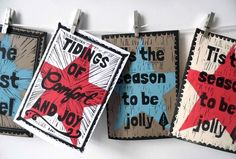 Hand Printed Christmas Cards by My Art Studio - Tis the Season to be Jolly / Tidings of Comfort and Joy