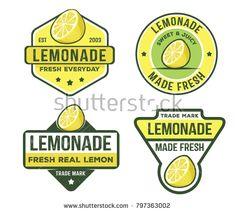 vector design badge label logo pack of lemonade beverage lemon syrup lemon juice made fresh and sweet Badge Design, Label Design, Logo Design, Juice Logo, Lemon Syrup, Modern Fonts, Logo Food, How To Squeeze Lemons, Brand It