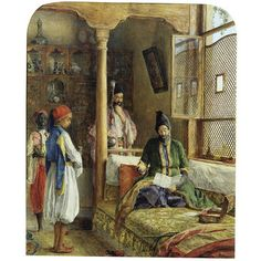 At first sight, this painting is an exotic and rather subtle version of what must have been a fairly common Victorian domestic drama. In a Turkish interior, a rich Persian is upbraiding his shifty-looking servants, having been presented with alarmingly high household bills. For some unexplained reason, Lewis does not indicate that it is also a portrait of Prince Hulugu Mirza, the cousin of the reigning Shah of Persia.