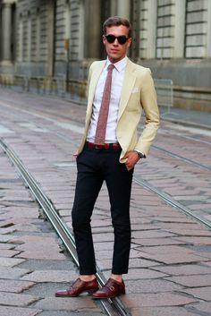 Filippo Cirulli wearing Prada Saffiano briefcase, vintage jacket and shirt, Gordon double monk by 59Bons Street, Spitfire shades
