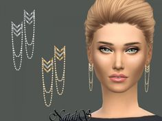 The Sims Resource: Chevron earrings with draped chain by NataliS • Sims 4 Downloads