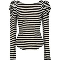 Bird by Juicy Couture Puff-shoulder striped wool top ($215) ❤ liked on Polyvore featuring tops, blouses, shirts, blusas, women, white stripes shirt, black long sleeve shirt, shirts & blouses, wool shirt and black white stripe shirt