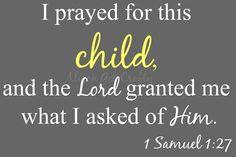 1 Samuel 1:27 Nursery Print Gray and Yellow. $10.00, via Etsy.