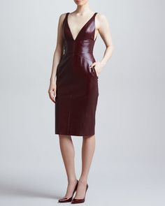 Fitted Plunging Leather Dress, Port by J. Mendel at Neiman Marcus.