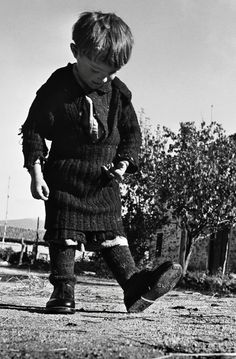David Seymour : Elefteria, the Only Child Not Evacuated from Her Remote Village, Oxia, Greece, 1947.