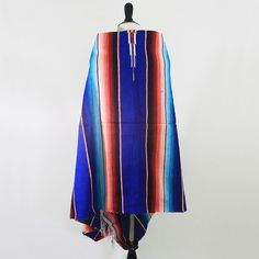 vintage mexican handwoven serape azure blue by VeraLyndon on Etsy