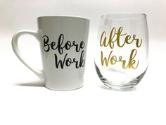 Coffee Mug and Wine Glass Set Before and After Work Cups Cups for the hard working adults Chri - Coffee Set - Ideas of Coffee Set - Coffee Mug and Wine Glass Set Before and After Work Cups Cups for the hard working adults Chri Diy Christmas Mug Gifts, Christmas Gifts For Adults, Christmas Coffee, Etsy Christmas, Christmas Music, Wine Glass Sayings, Wine Glass Crafts, Wine Quotes, Cork Crafts