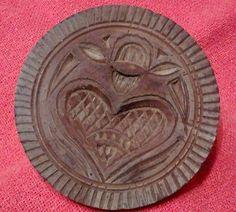 PRIMITIVE ANTIQUE HEART BUTTER STAMP VALENTINE'S DAY GIFT IDEA!!