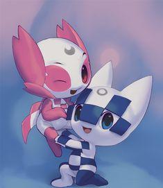 Miraitowa and Someity by Inkune on DeviantArt Kawaii Disney, Kawaii Anime, Huayra, Olympic Mascots, Robot Animal, Astro Boy, Tokyo 2020, Tokyo Olympics, Cartoon Design