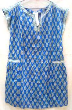 Boho Chic Rich Lapis blue & Emerald Anokhi Cypress Leaf Hand block print Cotton Tunic top